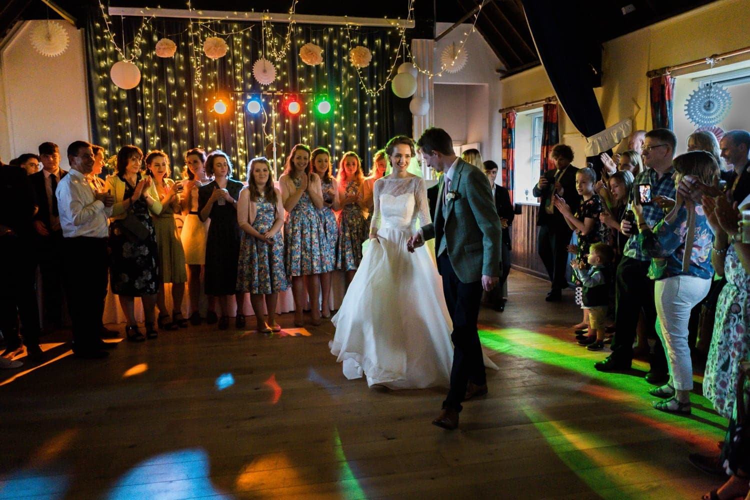 First dance a village hall wedding reception in Monmouthshire