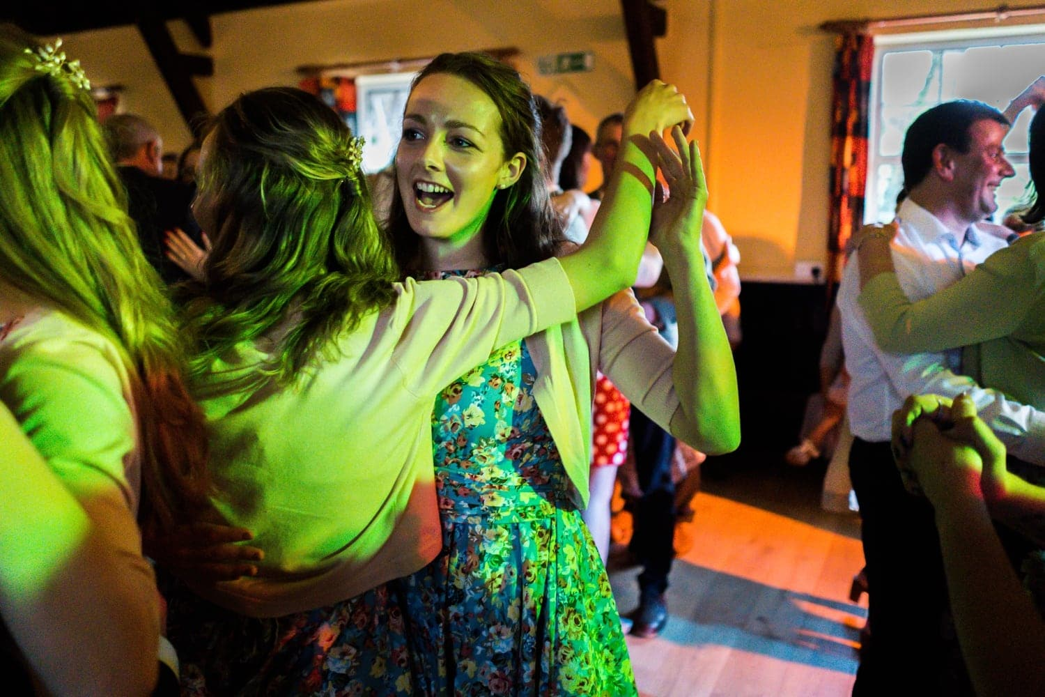 Dancing at village hall wedding reception in Monmouthshire