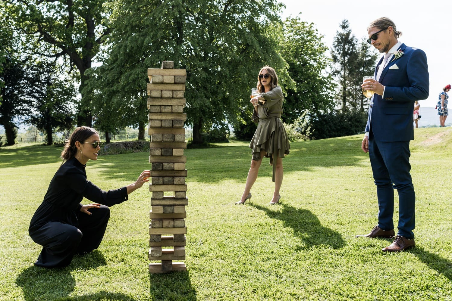 Wedding day jenga at Llansantffraed Court, Monmouthshire in South Wales