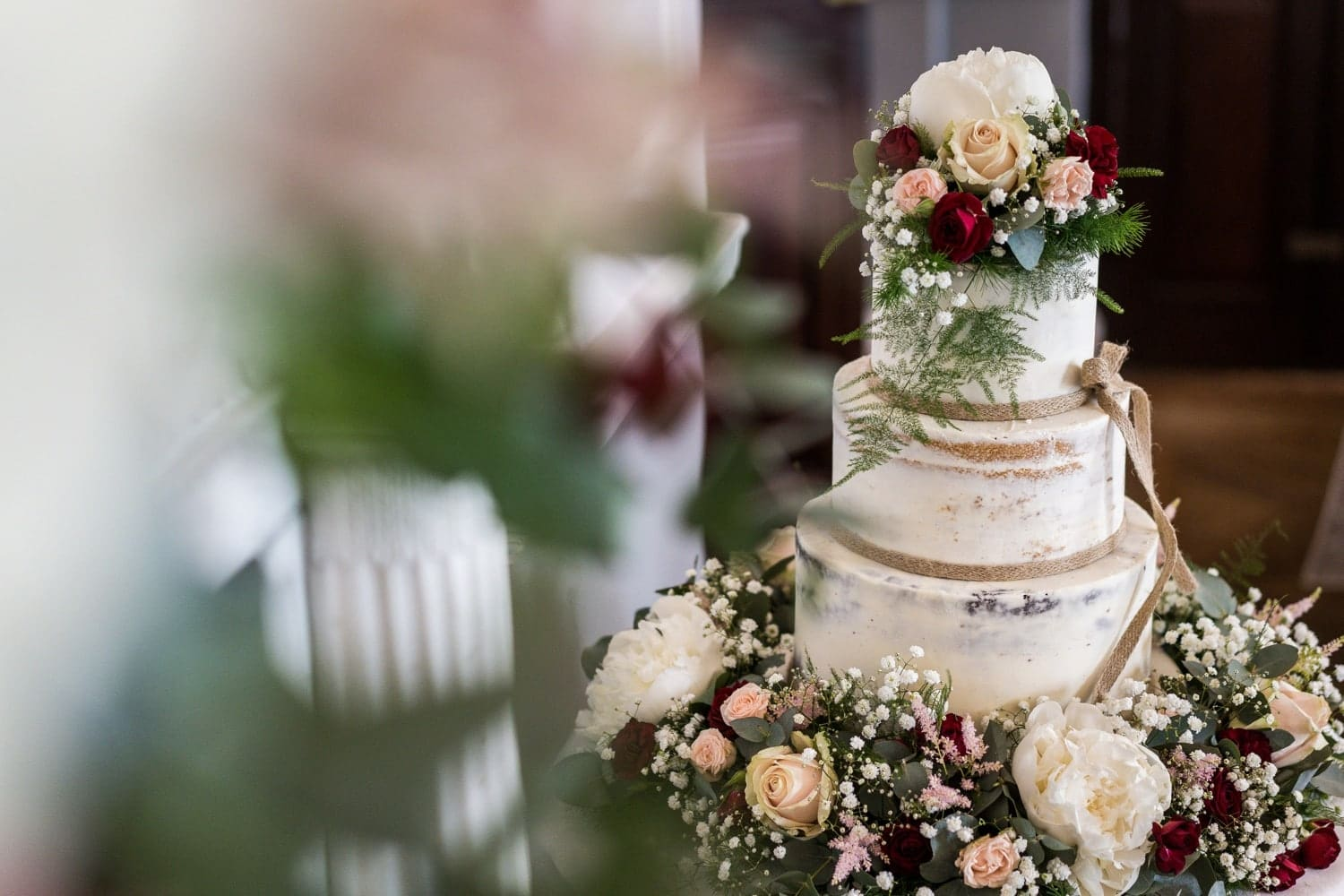 Wedding cake at Llansantffraed Court, Monmouthshire in South Wales