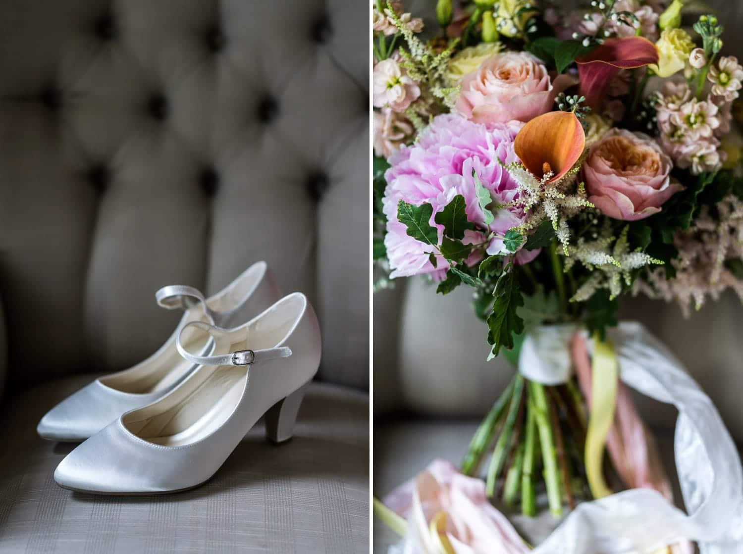 Bridal shoes & bouquet for summer wedding at miskin manor. south wales