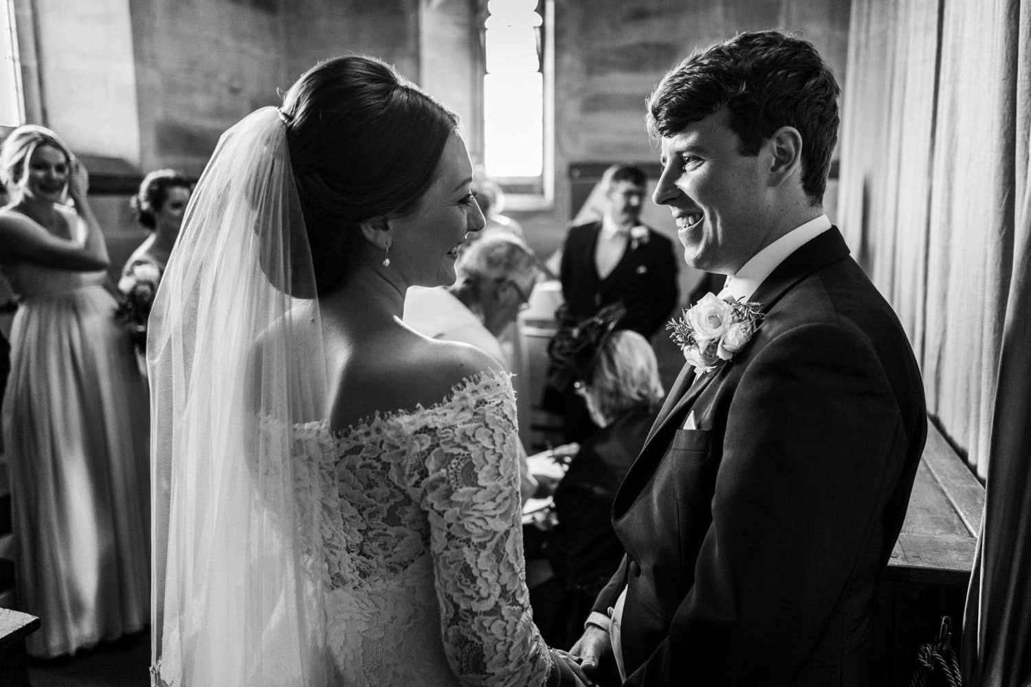 marriage ceremony at St David's Church in Miskin, South Wales