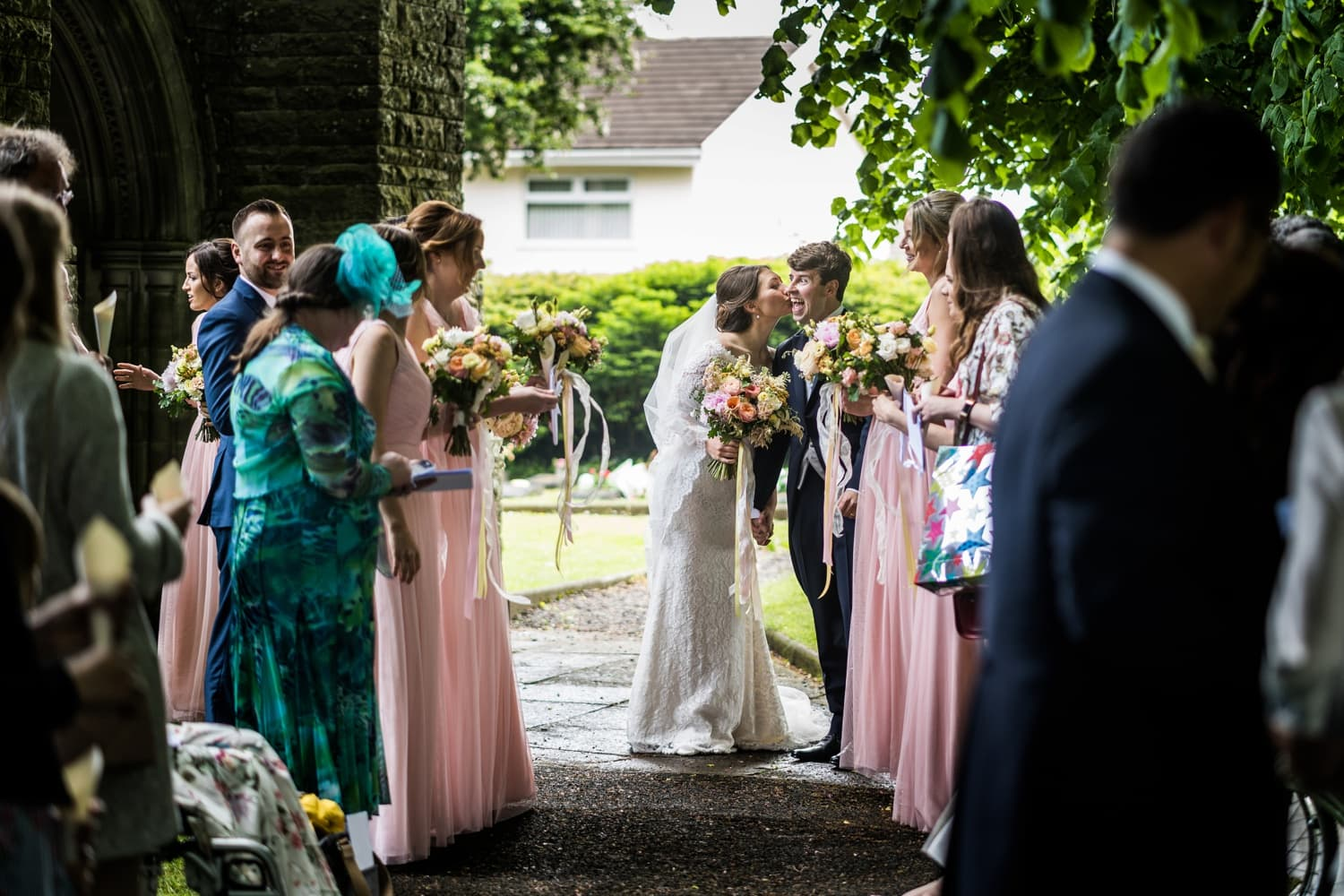 guests celebrate newly married couple at Miskin in South Wales