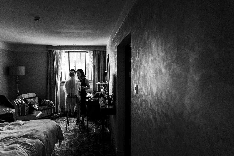 Bridal preparations at Hilton Grosvenor for a Oran Mor wedding in Glasgow