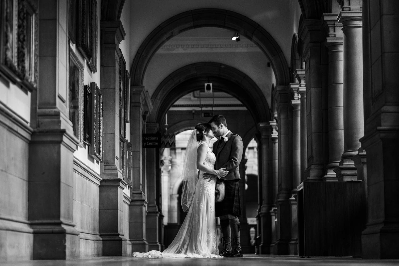 Wedding portraits at Kelvingrove Art Museum in Glasgow
