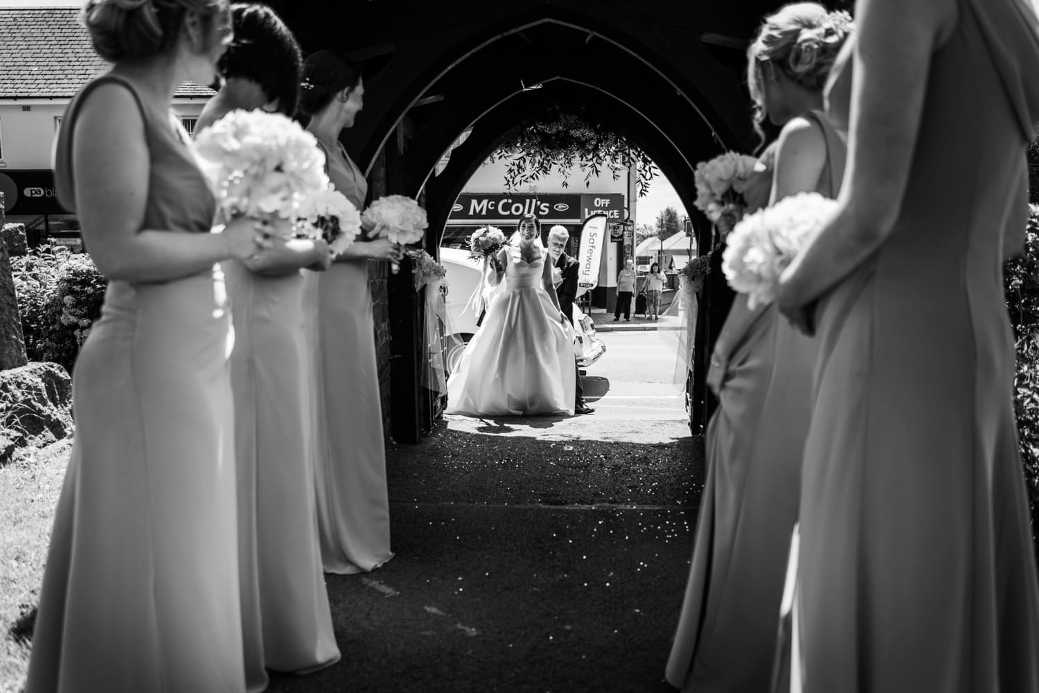 Bride arrives at St Isaan's Church in Llanishen, Cardiff