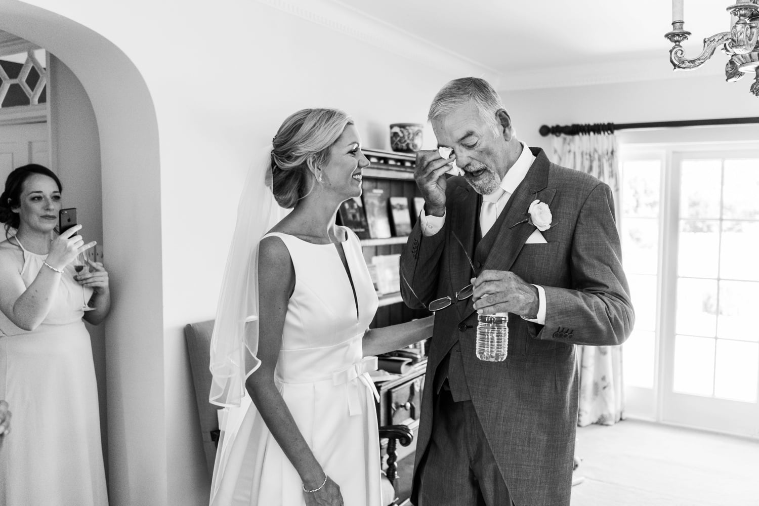 Father of the bride weeps at a Glanusk Park Estate wedding
