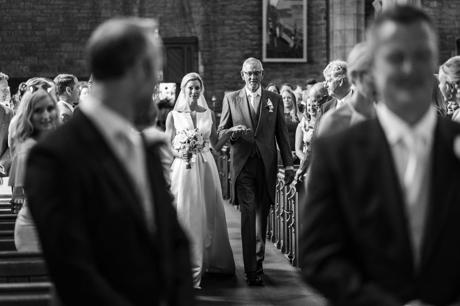 Bride arrives at St Marys Church in Abergavenny in South Wales