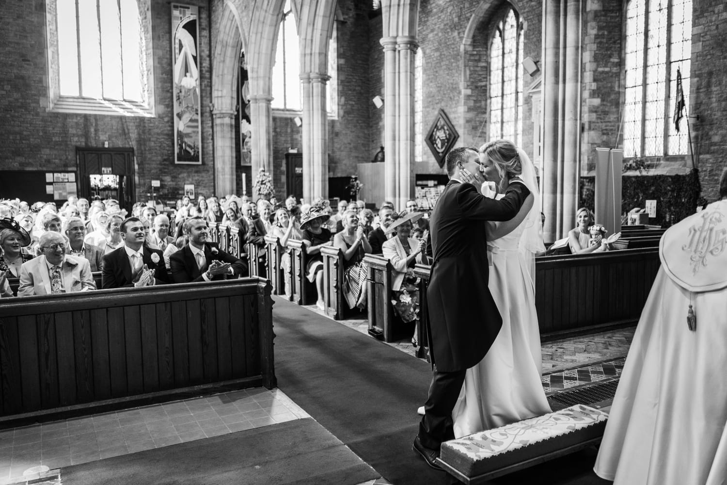 Marriage ceremony at St Marys Church in Abergavenny in South Wales