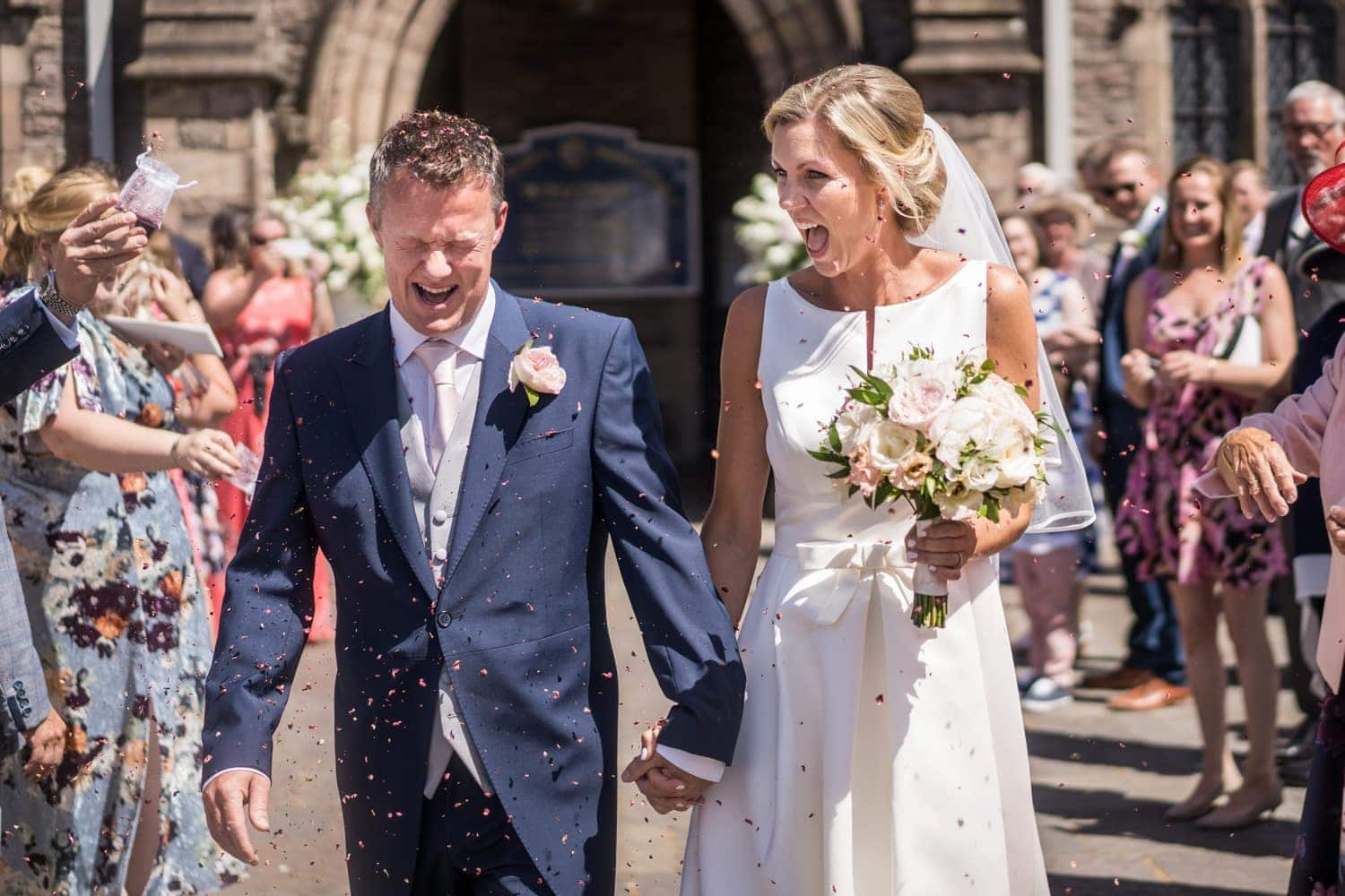 Confetti outside St Marys Church in Abergavenny in South Wales