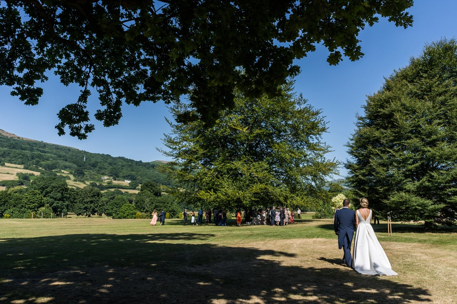Bride and groom arrives at Glanusk Park Estate wedding