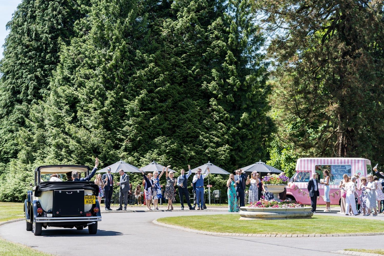 Car arrives at Hensol Castle wedding