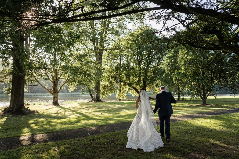 Evening sun light portraits at Hensol Castle wedding