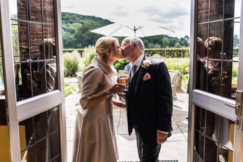 First kiss at a Brinsop Court wedding