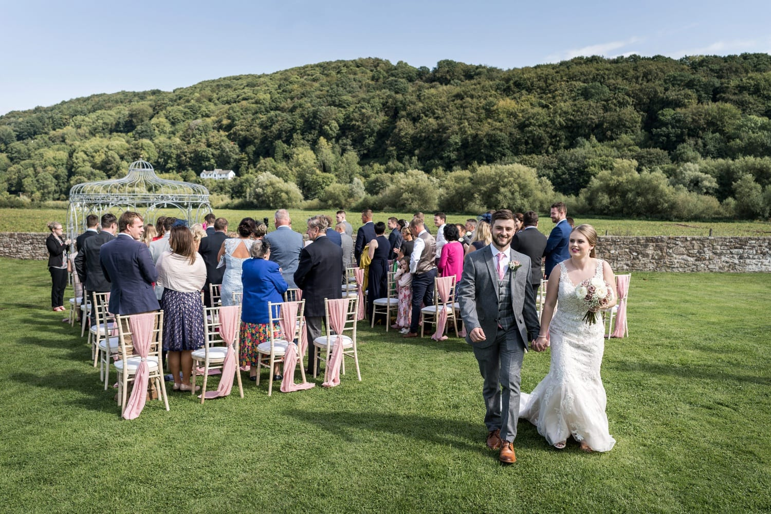Outdoor marriage ceremony at Herefordshire wedding venue Flanesford Priory