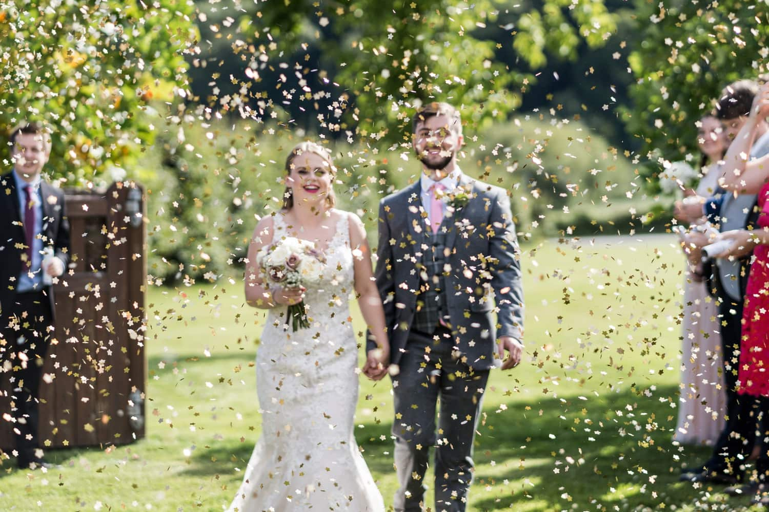 Confetti at Herefordshire wedding venue Flanesford Priory
