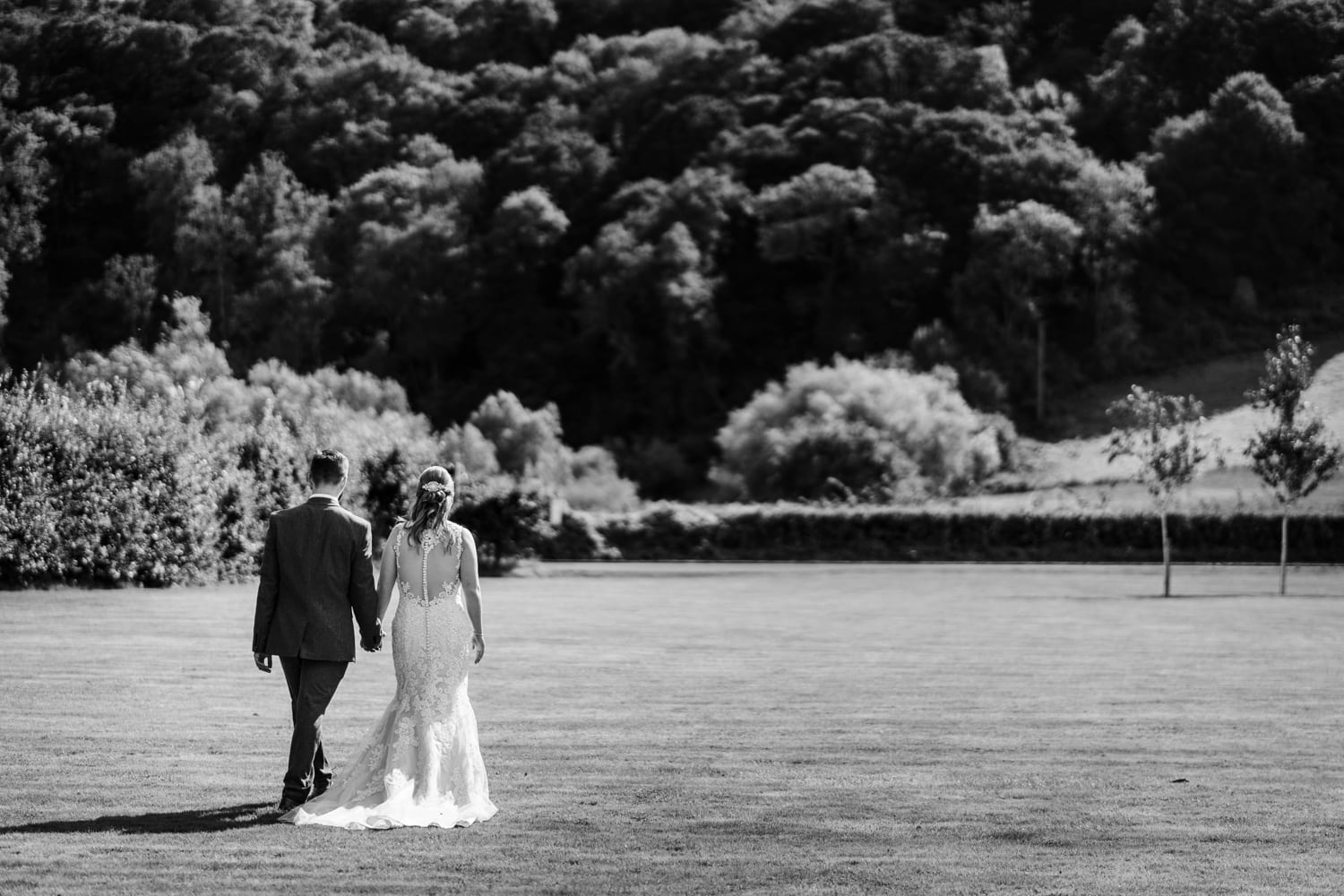 Bride and groom portraits at Herefordshire wedding venue Flanesford Priory