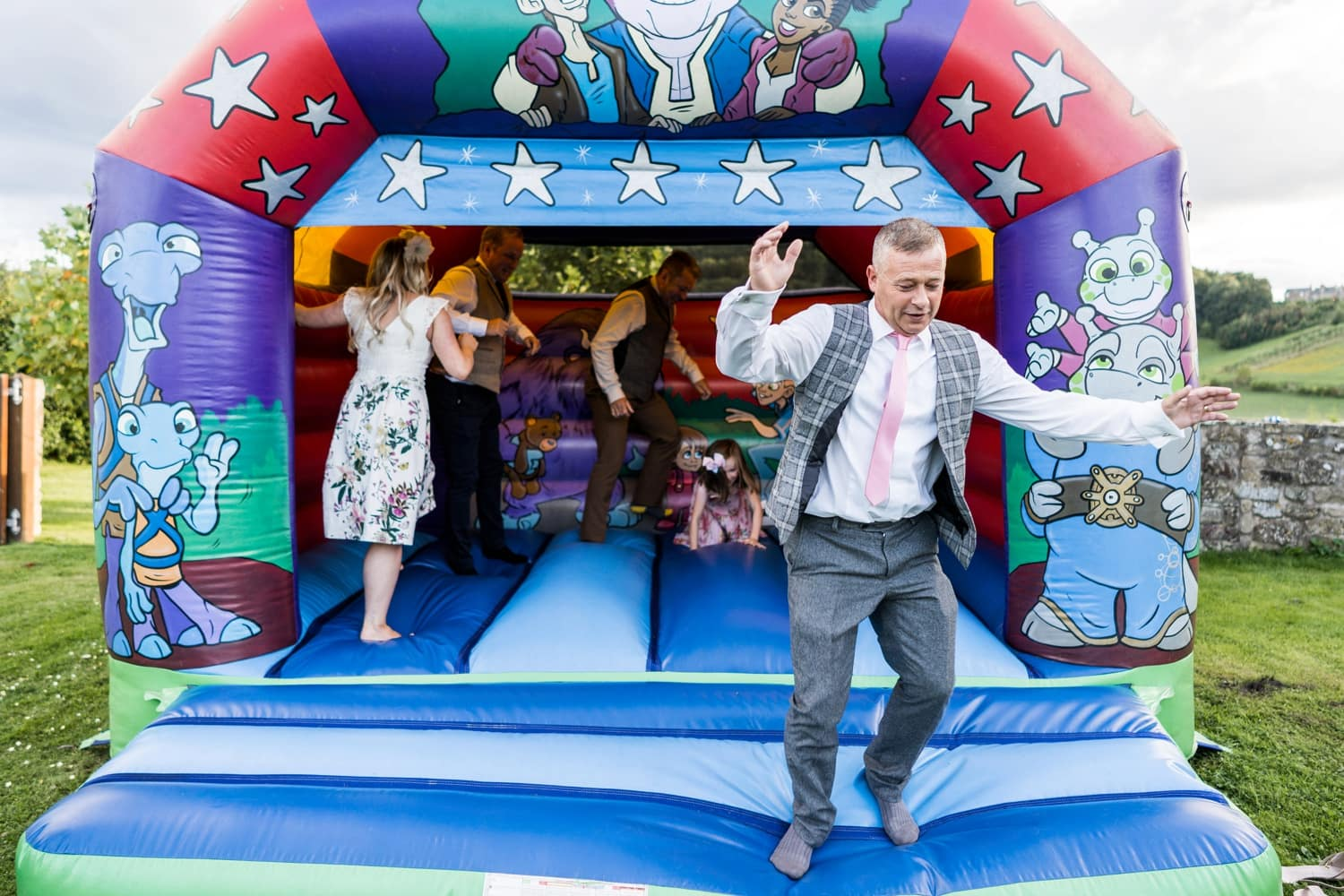 Bouncy castle Speeches at Herefordshire wedding venue Flanesford Priory