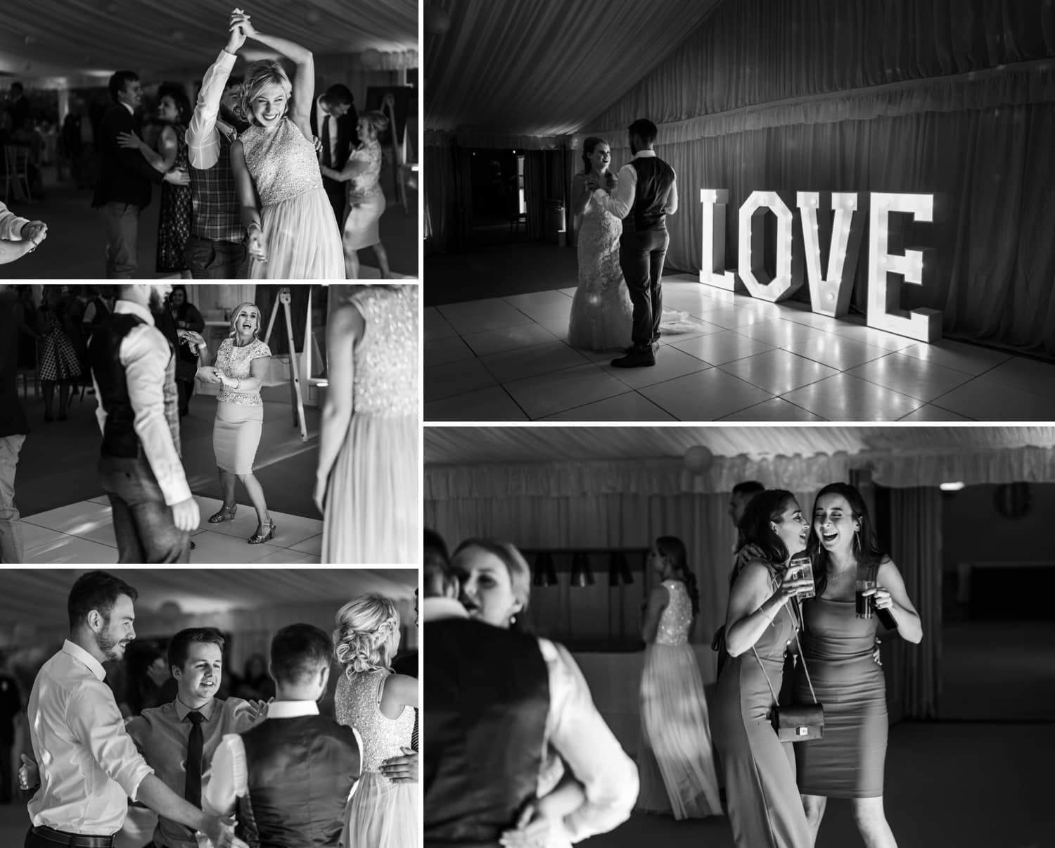 Dancing at Herefordshire wedding venue Flanesford Priory