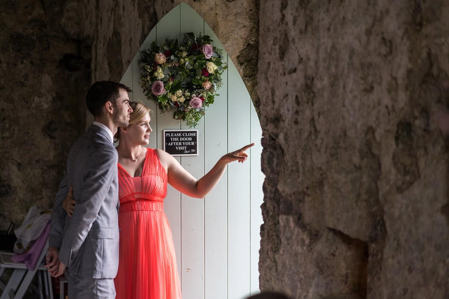 Rainy day wedding at Manorbier Castle