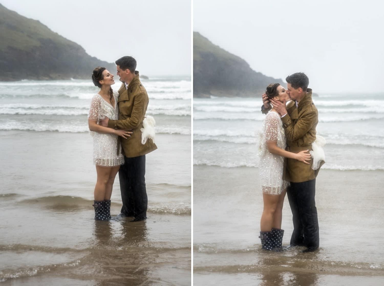 Manorbier Beach on a rainy wedding day