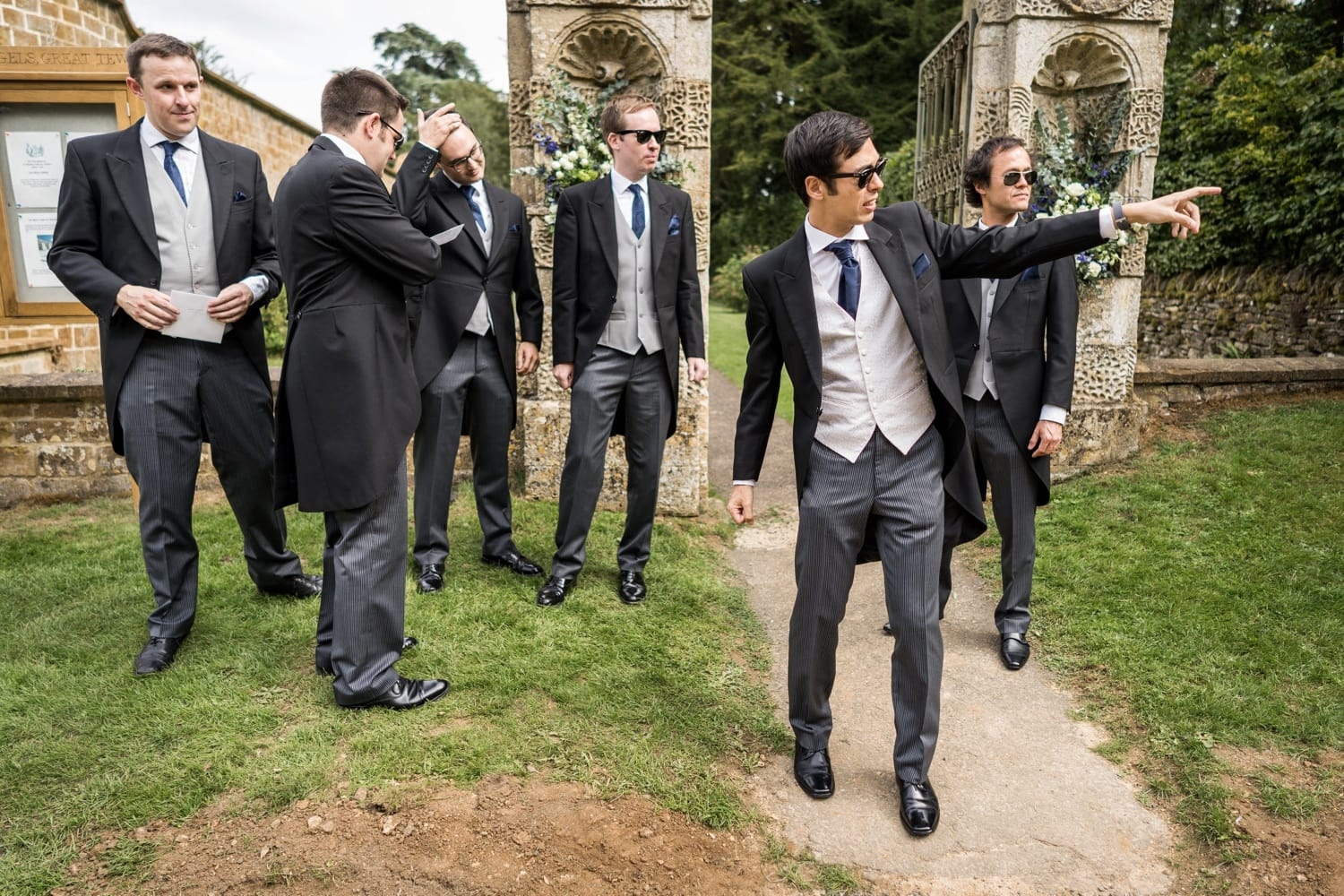Groom with ushers at a Cotswold wedding at Soho Farmhouse