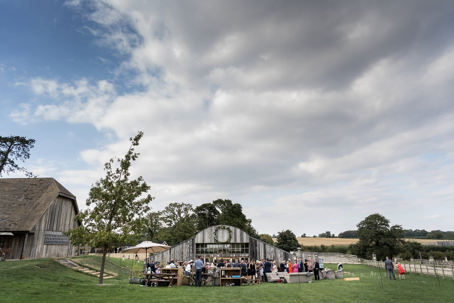 The Wedding reception at the Hay Barn, Soho Farmhouse