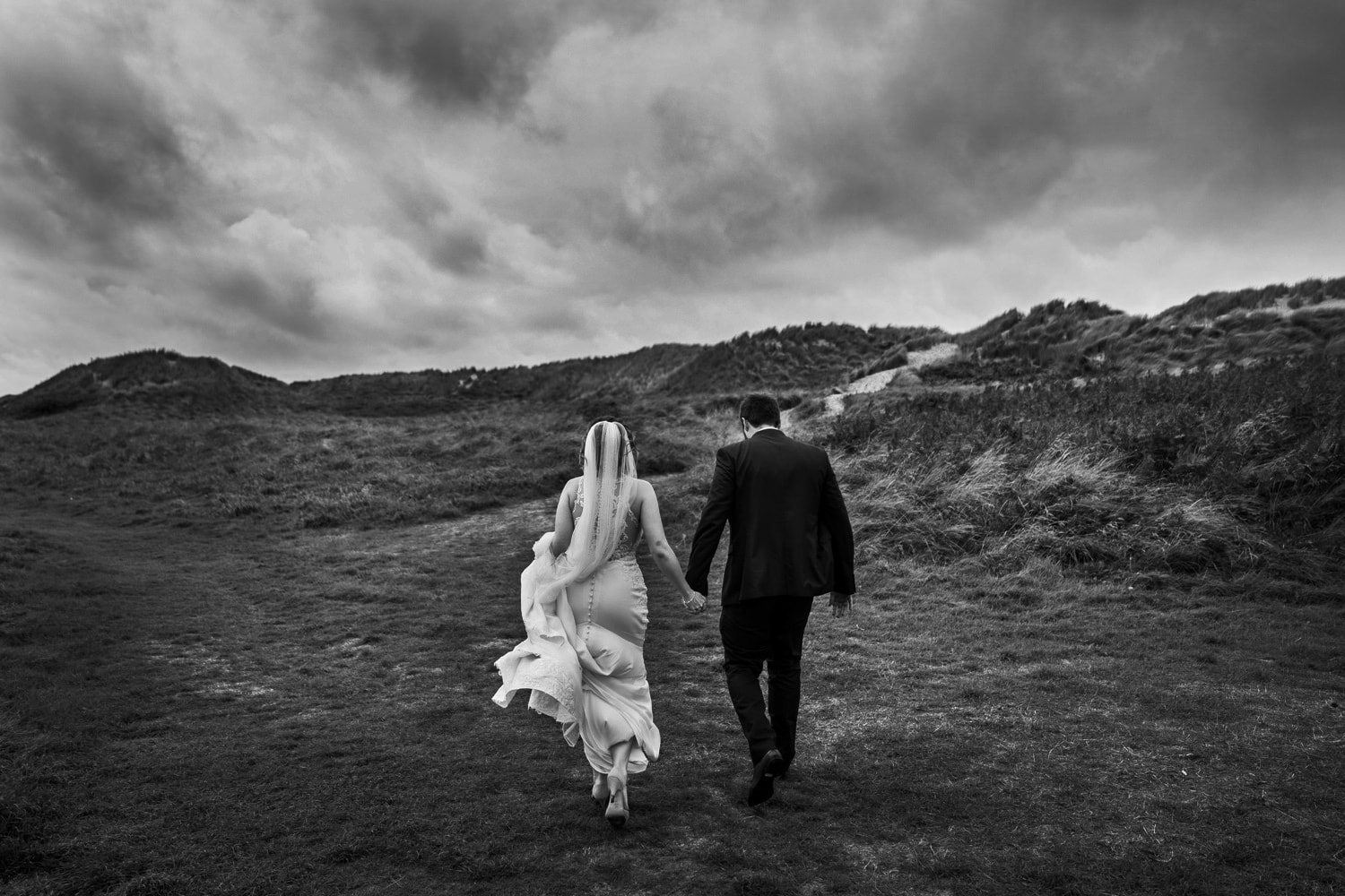 Wedding photographs on the beach at Whiteford Bay, Gower, South Wales