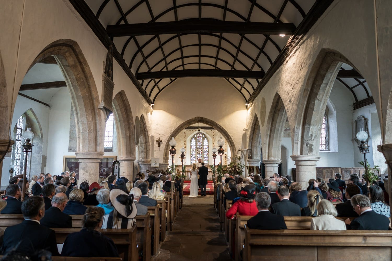 Wedding ceremony at St Brigit's Church, Skenfrith, Monmouthshire
