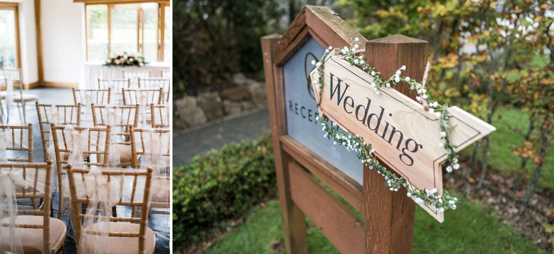 Wedding sign Bridal preparations at Oldwalls, South Wales