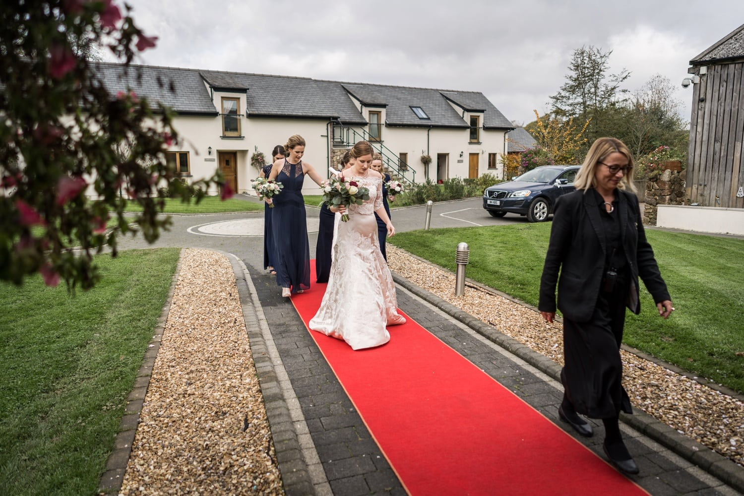 Bride arriving at Oldwalls, South Wales