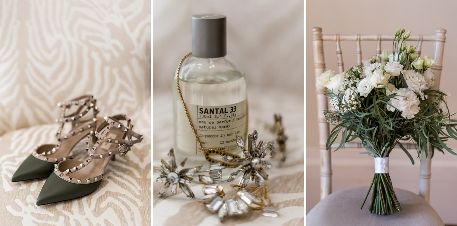 Wedding day perfume, shoes and flowers at St Tewdrics House, Monmouthshire, South Wales