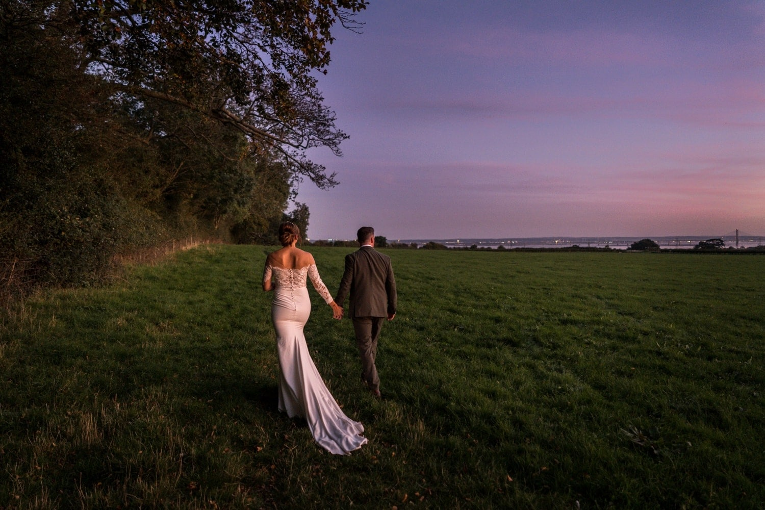 Wedding day dusk at St Tewdrics House, Monmouthshire, South Wales