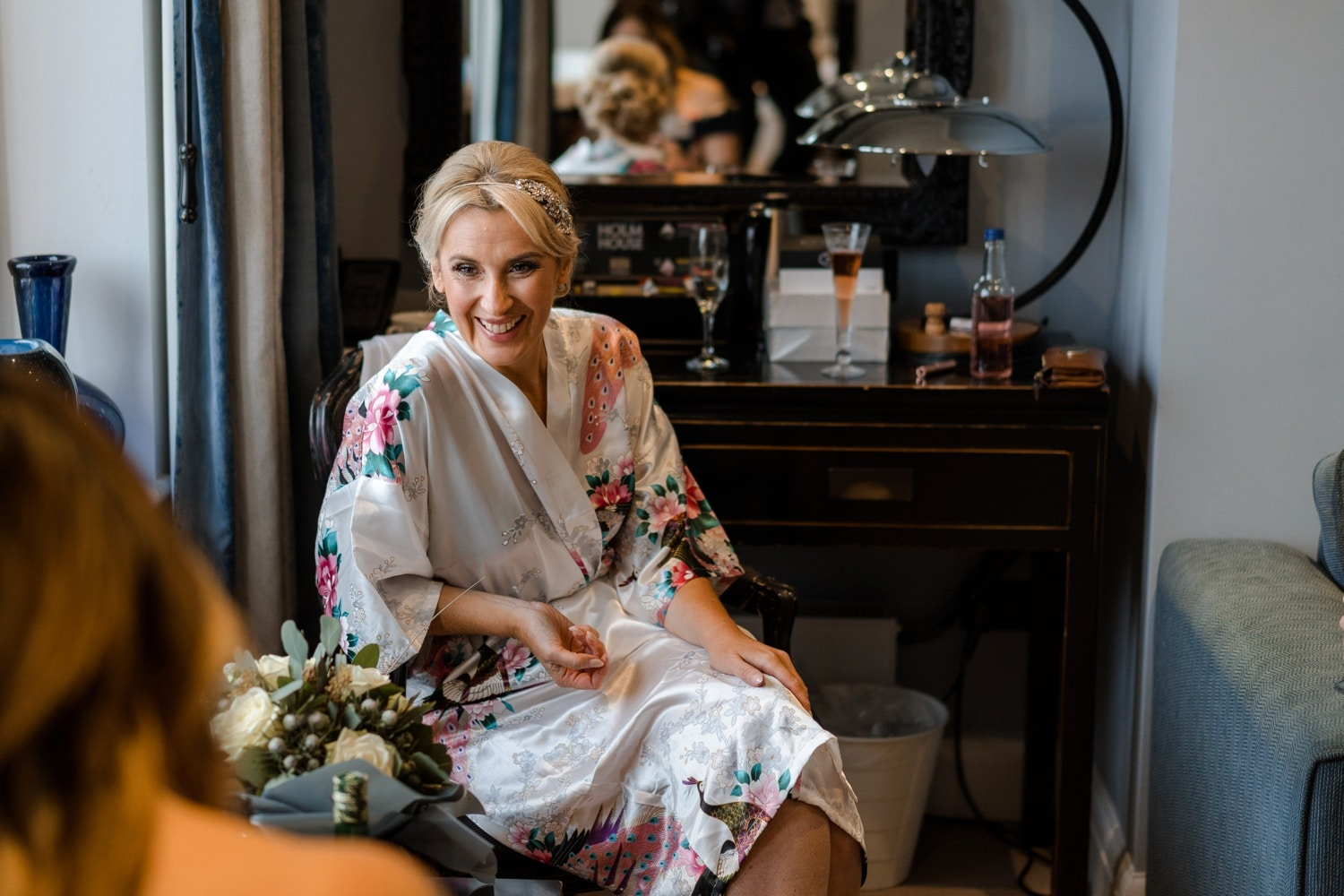 Bridal preparations at Holm House in Penarth, South Wales
