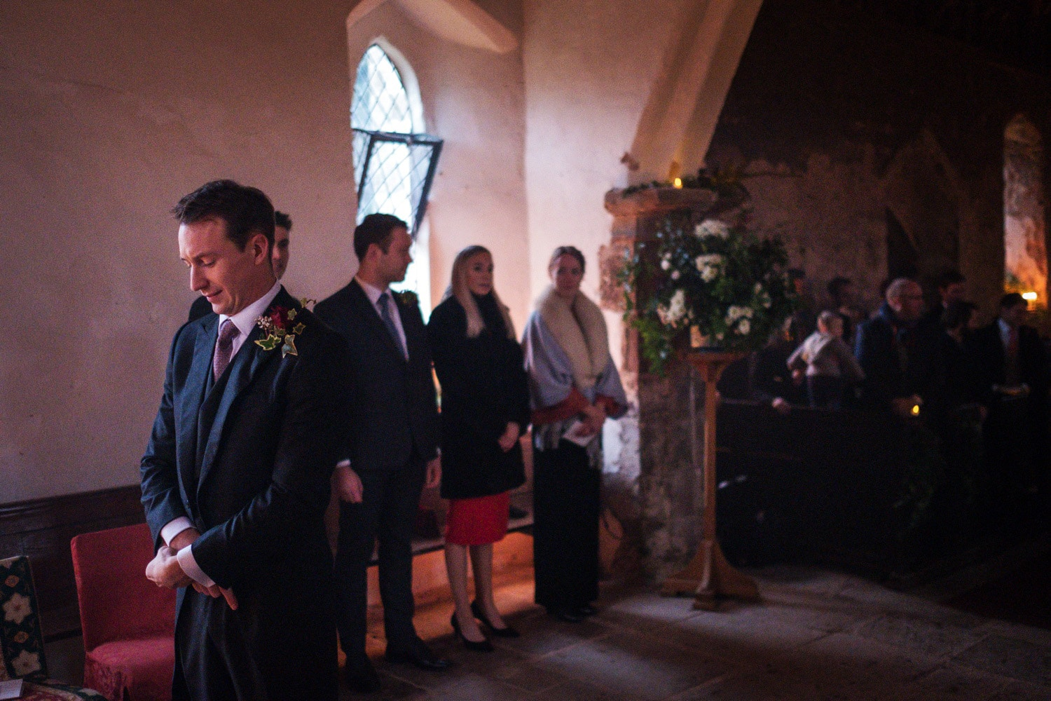 Groom waiting at alter, Monmouthshire