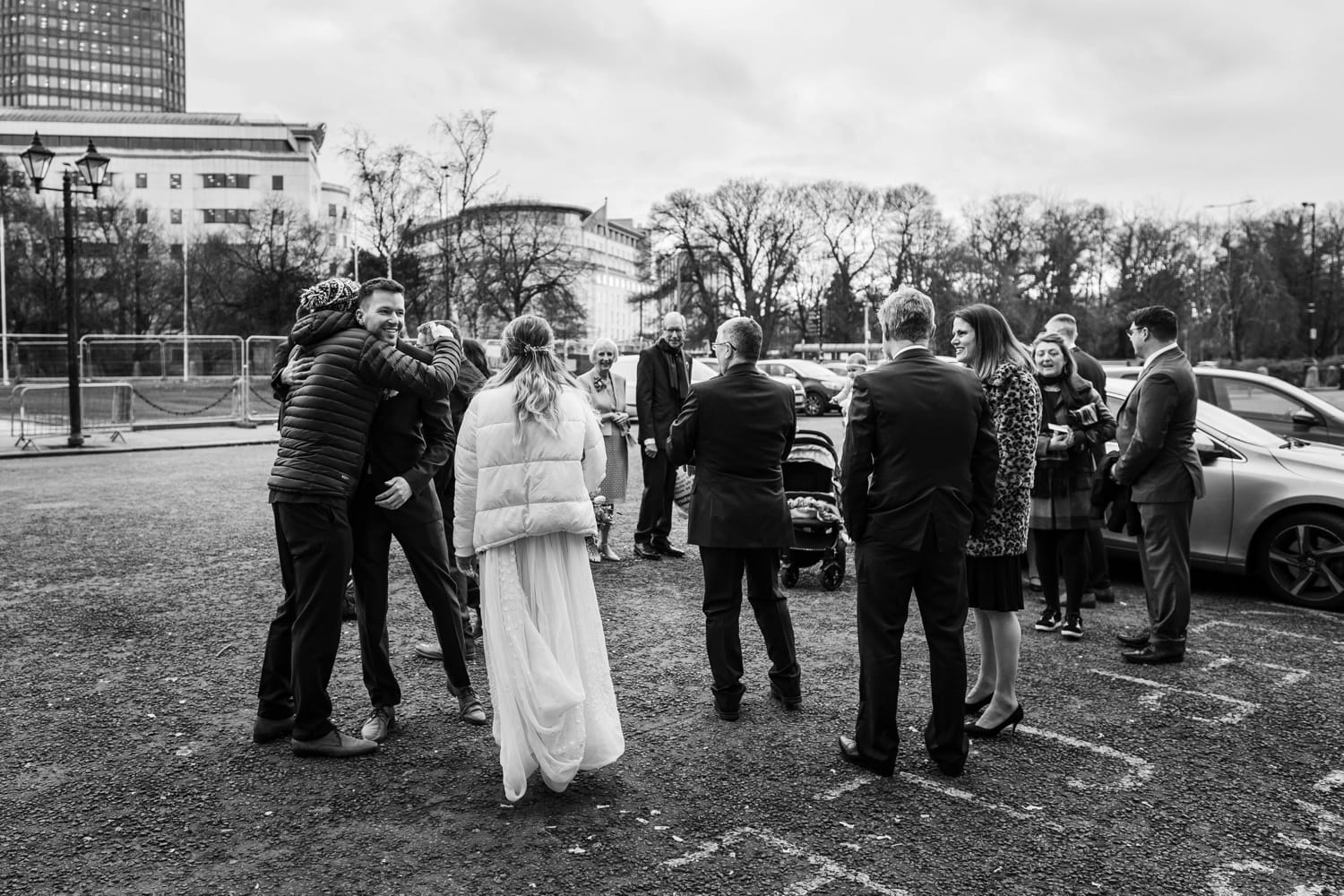 Wedding party arrives at Cardiff City Hall
