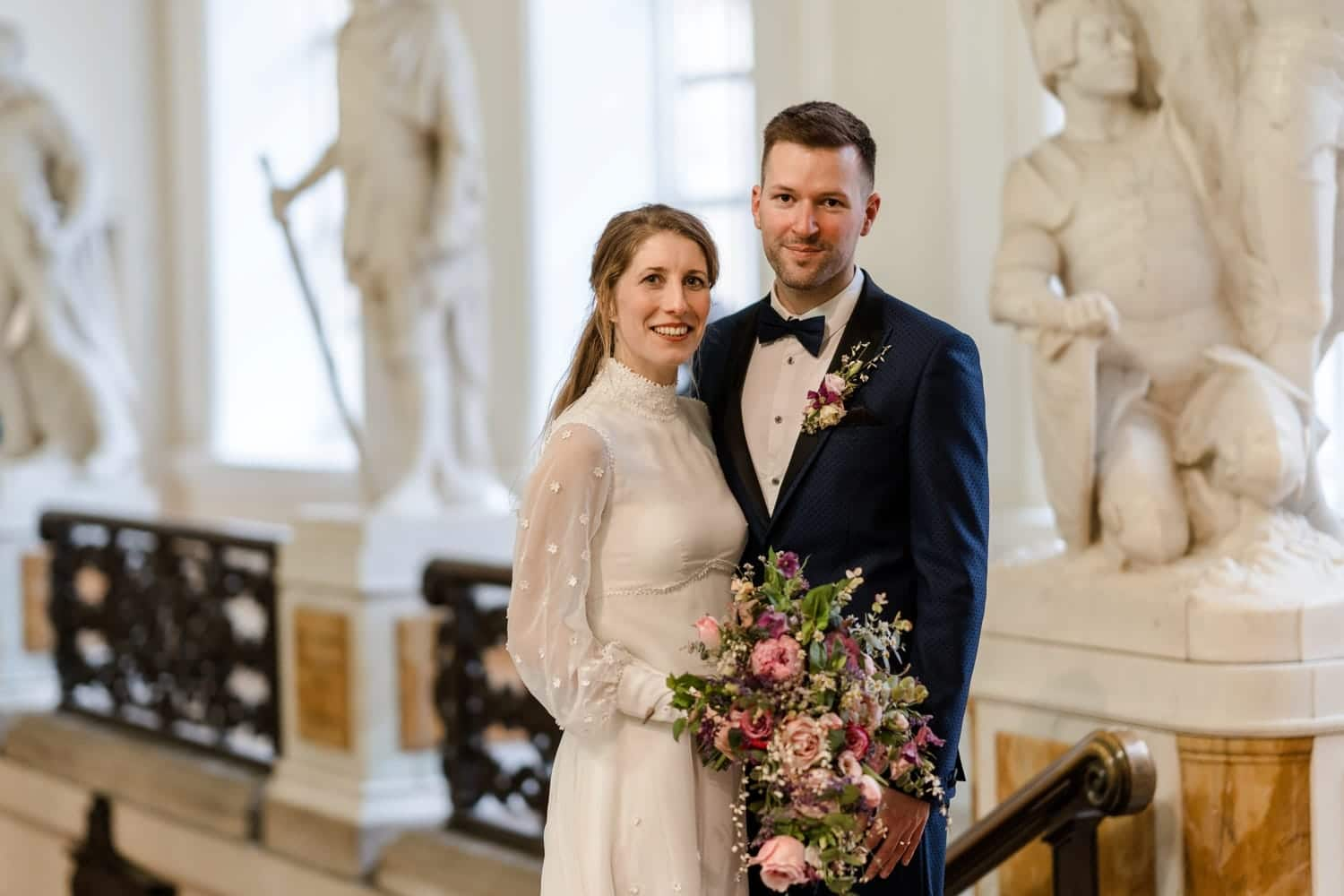 Bride and groom portraits at Cardiff City Hall