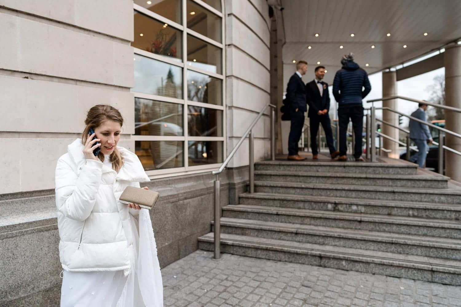 Bride on phone