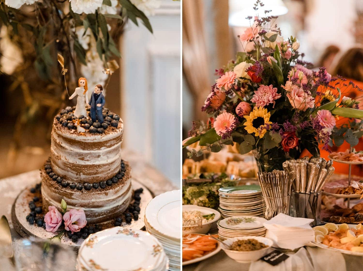 Wedding cake and buffet at Sunflower and I cafe in Cardiff Bay