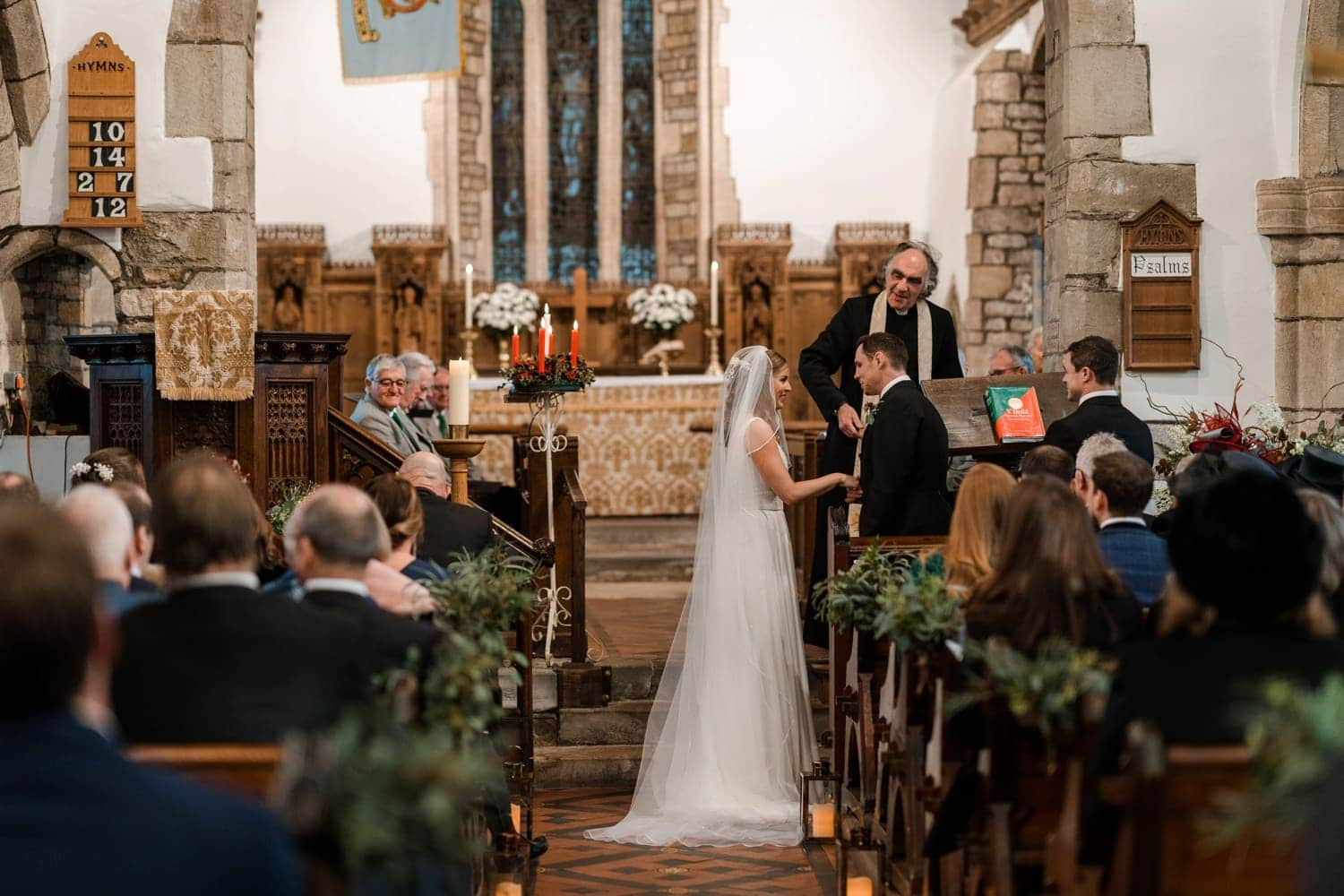 Marriage ceremony at St Tewdric's Church in Monmouthshire