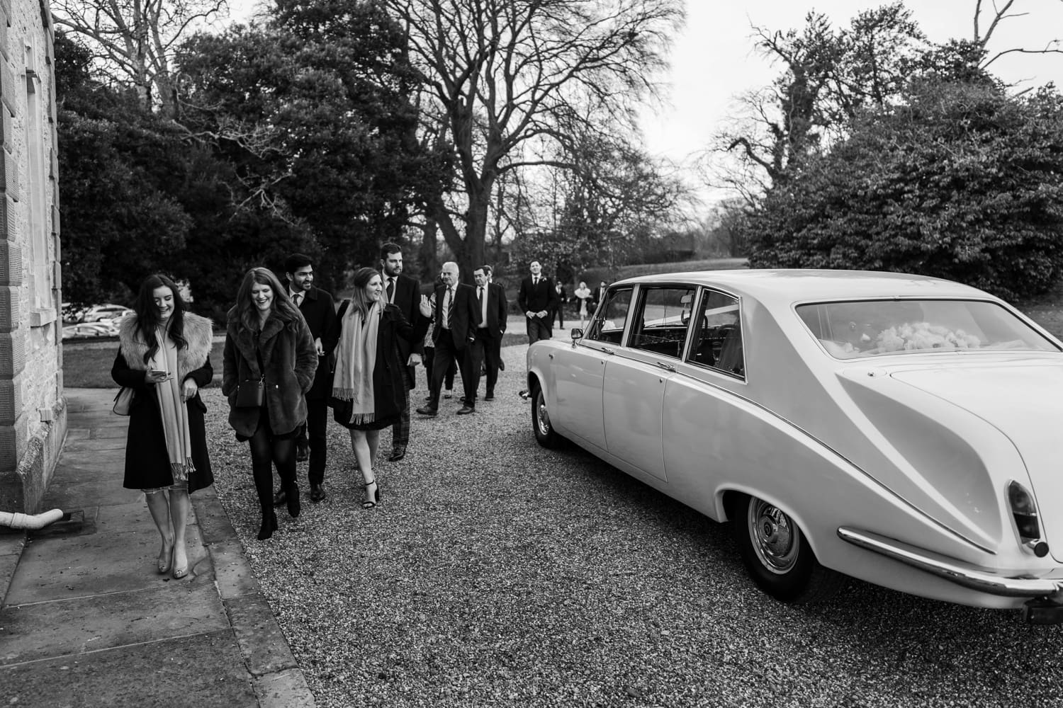 Wedding car at St Tewdrics House in Monmouthshire