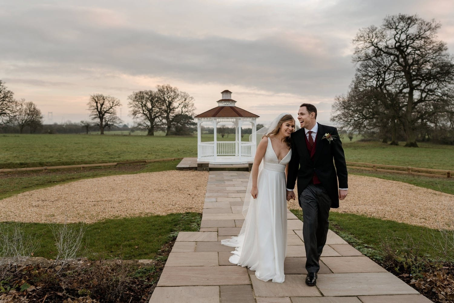 Wedding couple at St Tewdrics House in Monmouthshire