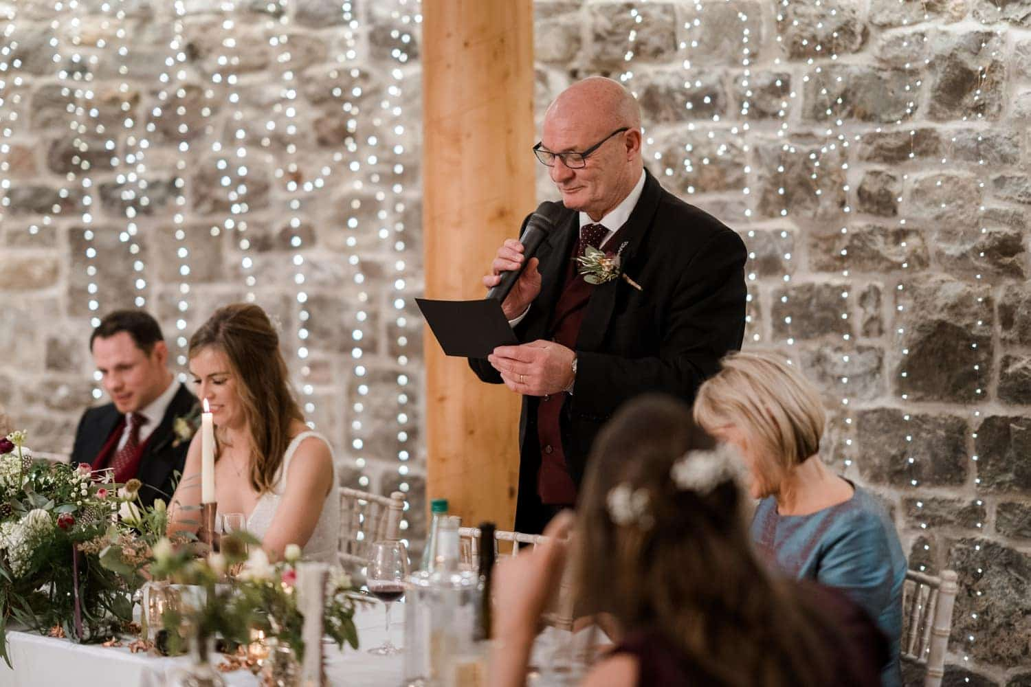 Wedding day speeches at St Tewdrics House in Monmouthshire