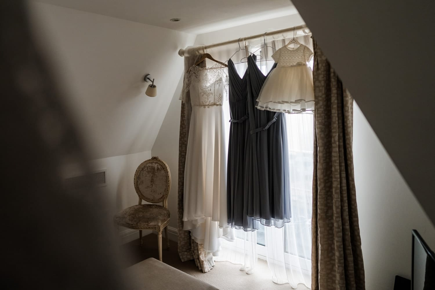 Bride dress hanging up at Holm House, South Wales