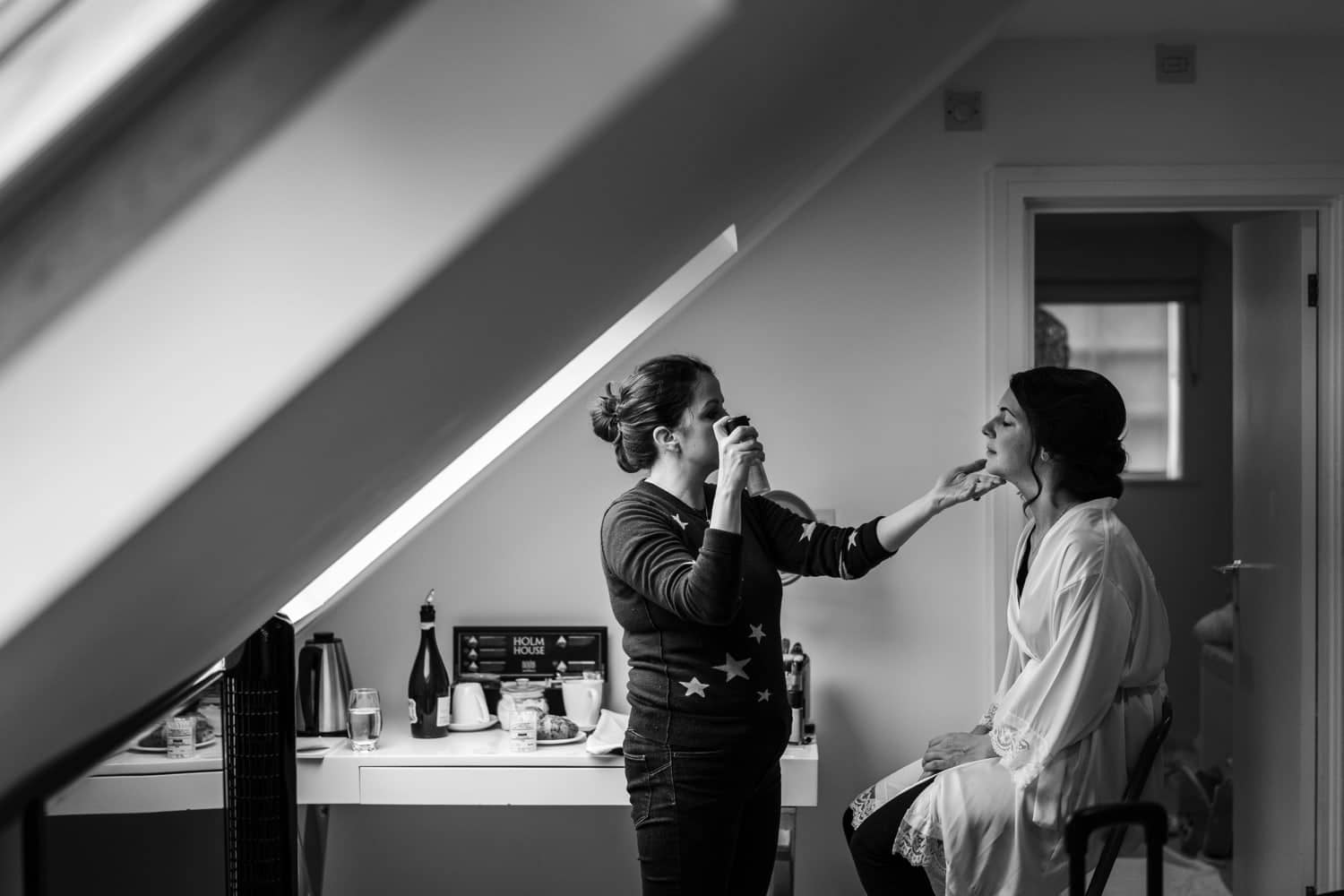 Bridal preparations at Holm House in South Wales
