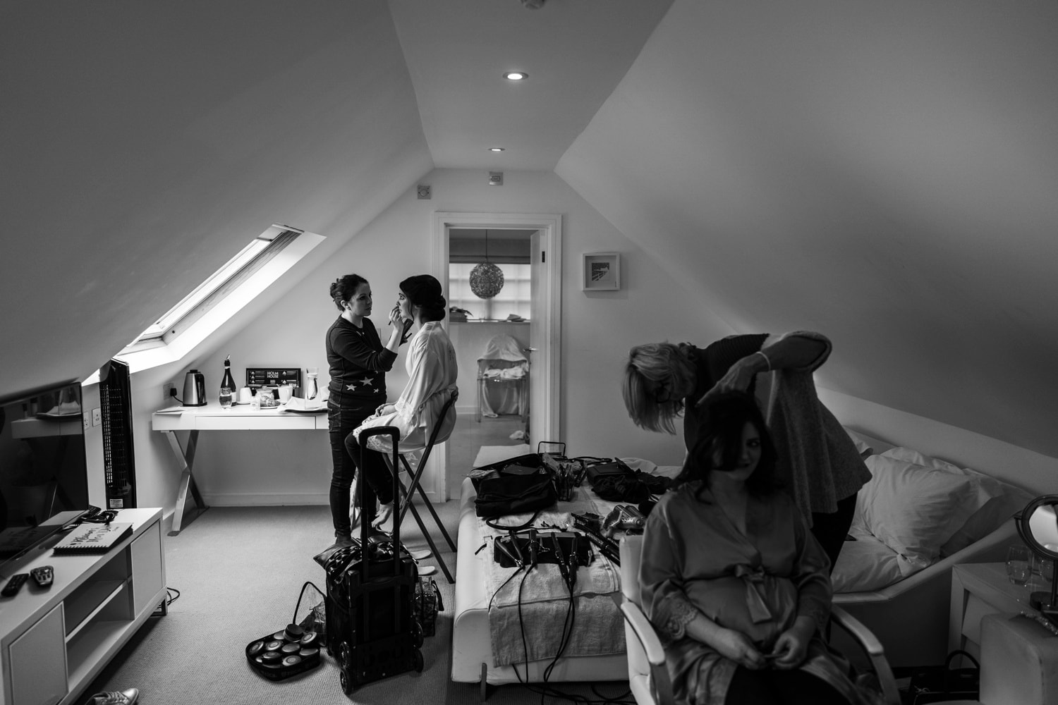 Bridal preparations at Holm House wedding in South Wales