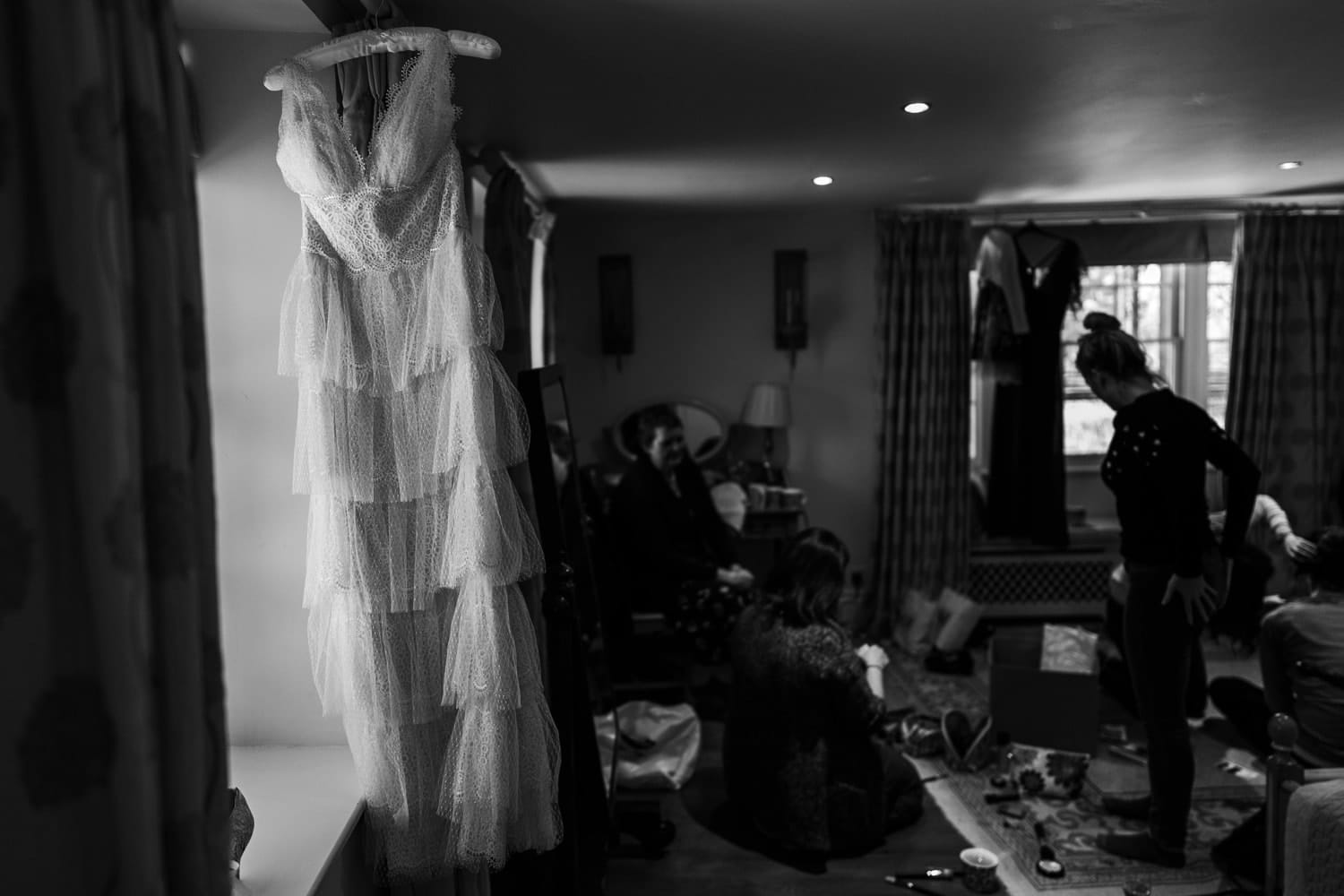Bridal preparations at Great Tythe Barn in Tetbury