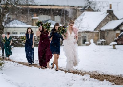 Wedding in the Snow – Great Tythe Barn with Phoebe & Mark
