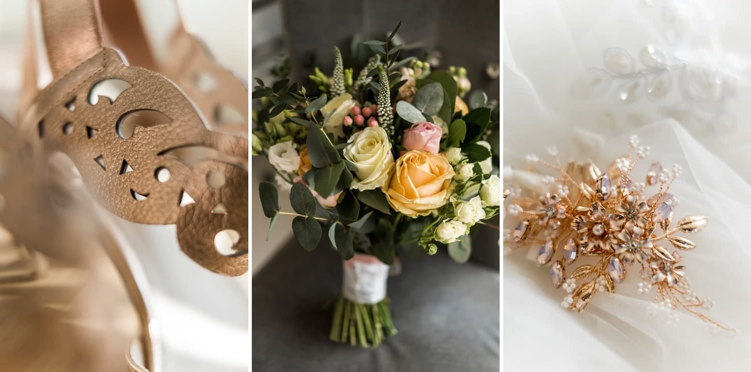 Bridal details for a South Wales Wedding with the King Arthur Stone