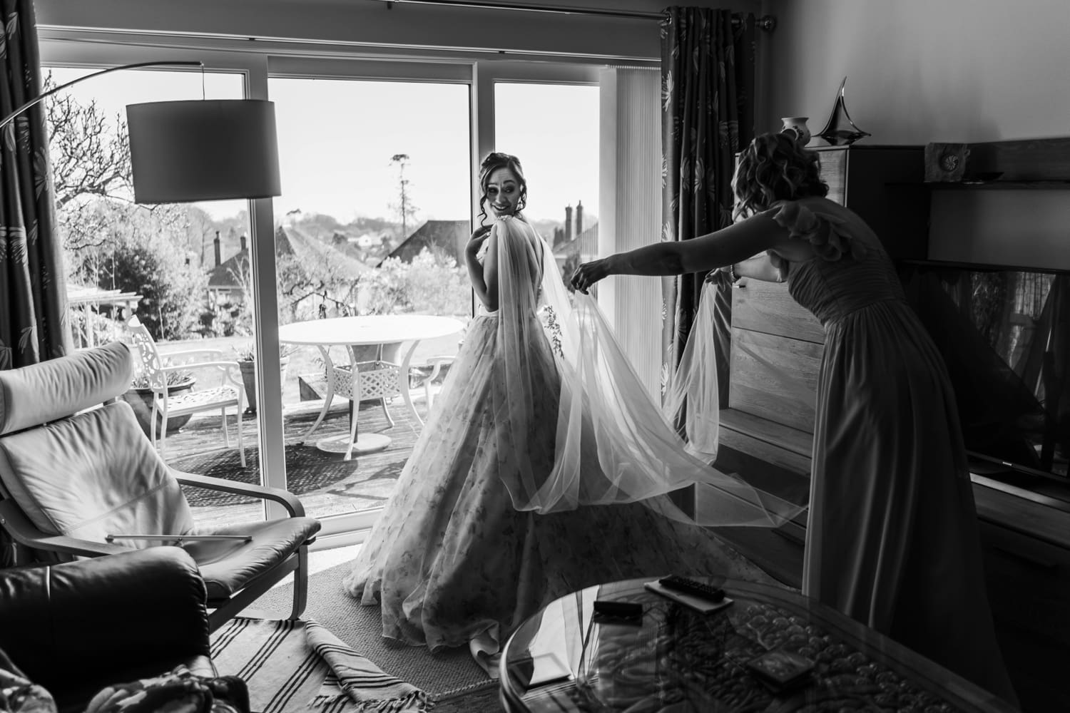 South Wales Bride getting help to dress